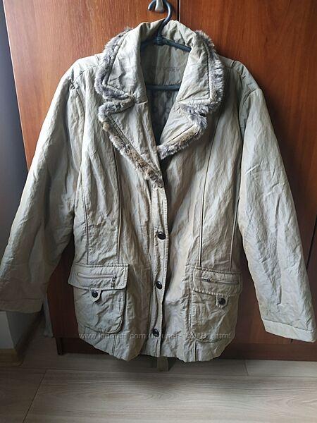 Деми легкая курточка-плащ gerry weber оригинал цвета хаки на наши 56-58р