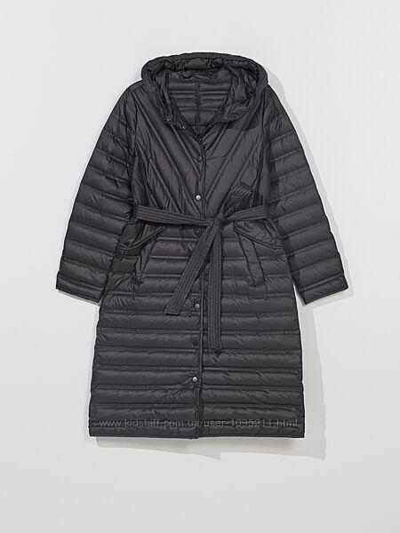 Черная стёганая куртка пальто, натуральный пух перо