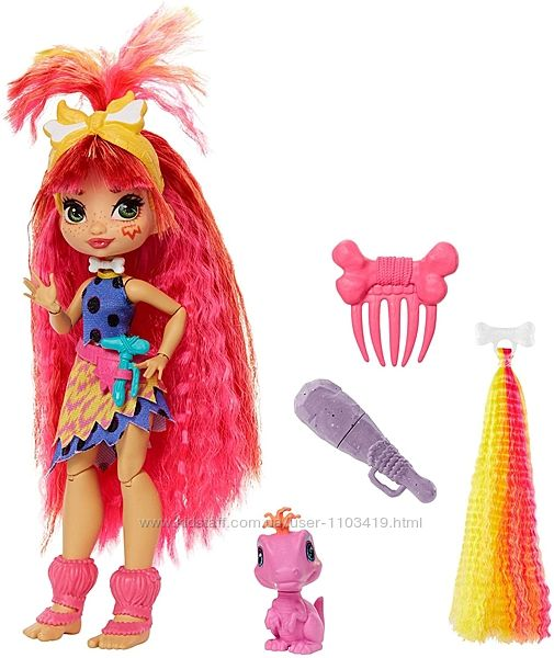 Кукла Эмберли и питомец Флер Пещерный клуб с неоновой прядью Cave Club Embe