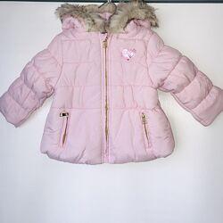 Нежно-розовая теплая демисезонная курточка для малышки, размер 80, Германия