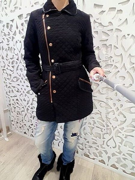 Пальто бренда NEXT женское стеганное демисезонное черное стильное