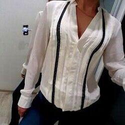 Блузка h&m xs s светло молочного цвета нарядная стильная
