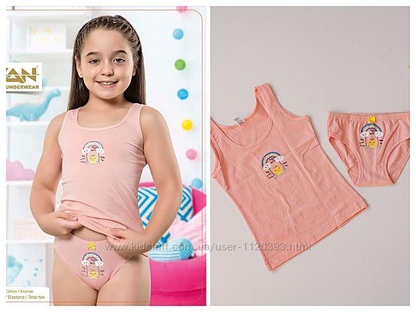 Хлопковые комплекты для девочек 3-10 лет, трусики и майка. Турция, ТМ Оzkan