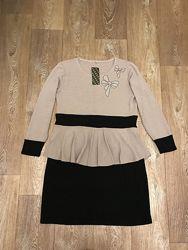 Красивое платье с баской. Сукня. Плаття нарядное. Платье трикотажное