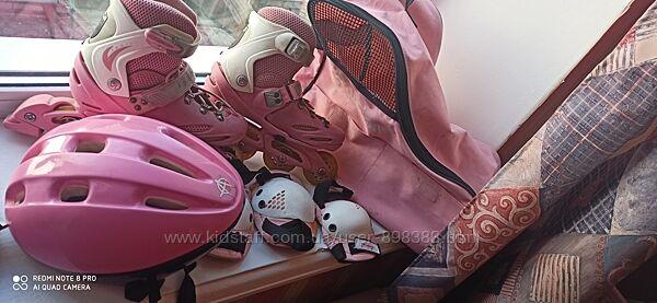 Ролики, защита на колени и локти, шлем