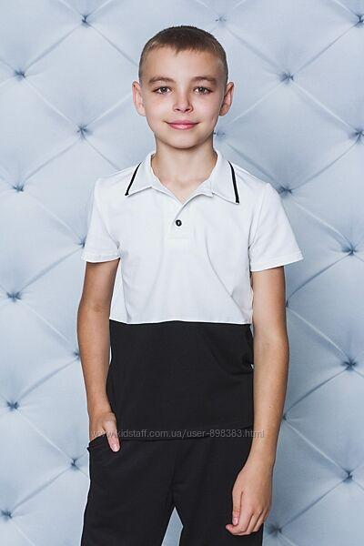Поло для мальчика с коротким рукавом черное