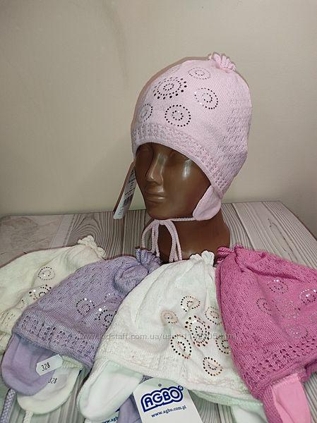 Шапка весенняя на завязках для девочек