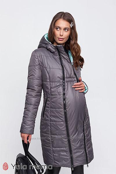 Молодежное двухстороннее пальто для беременных из плащевки, еврозима,4 цвет