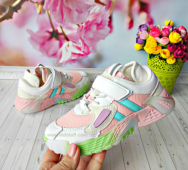 Кроссовки с сеточкой р-р 32-37 розовые с белым