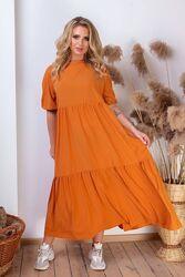 Женское платье широкого кроя с воланами на лето. размеры с  42 по 58