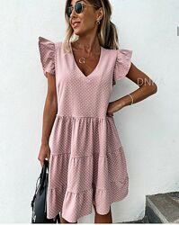 Модное свободное летнее платье в горошек . Размеры 42-44,46-48,50-52,54-56