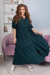 Стильное платье летнее свободное с воланами. размеры с 42 по 58