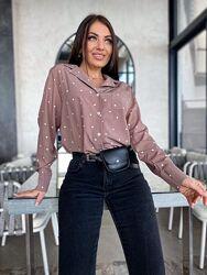 Стильная женская  рубашка в горошек на пуговицах. Размеры с 42 по 56
