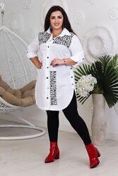 Женская стильная удлинённая рубашка-туника на пуговицах с надписями