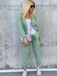 Стильный костюм двойка брюки и пиджак из льна. Размеры с 42 по 54. Реал фото