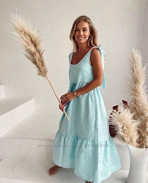 Женское льняное платье, платье из льна свободного стиля, летний сарафан лен