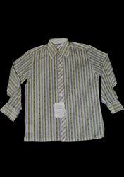 Винтажная мужская рубашка L/XL салатовая с узором в полоску Польша  хлопок