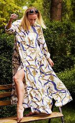 Шикарное летящее платье макси с поясом