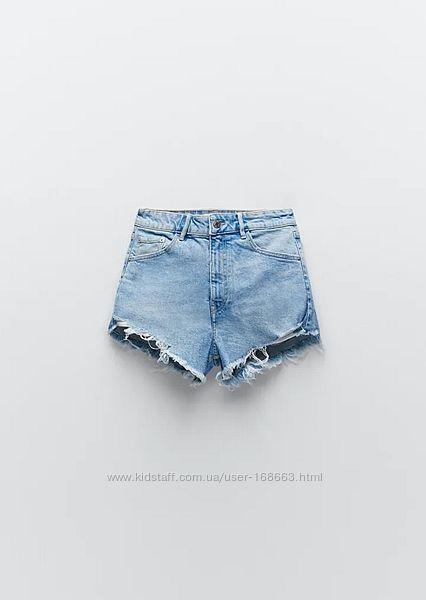 Джинсовые шорты с высокой посадкой Zara, 40, 42р, оригинал, Испания