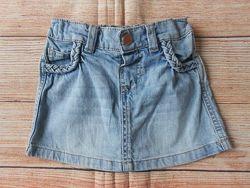 Джинсовая юбка юбочка на девочку f&f 1,5-2года.