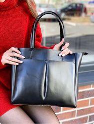 Стильная сумка шопер, кожа, в идиале