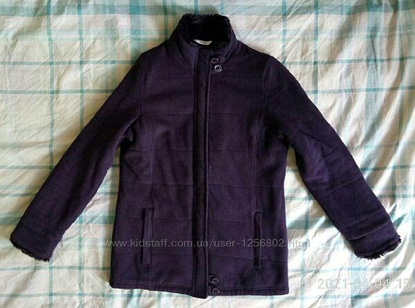 Куртка флисовая с тонким синтепоном, стеганная теплая кофта/размер 10 / S-M