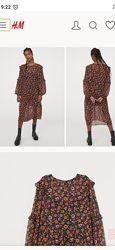 Платье h&m 2021 цветочный принт, размер M