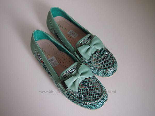 Мокасины - туфли кожаные для девочки Palaris 31-36 серебристо - зеленые