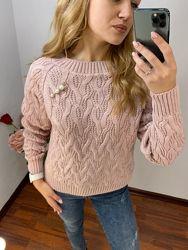 Вязаный свитер шерсть розовый пудра синий оранжевый бордовый