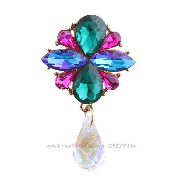 Брошь с цветными кристаллами