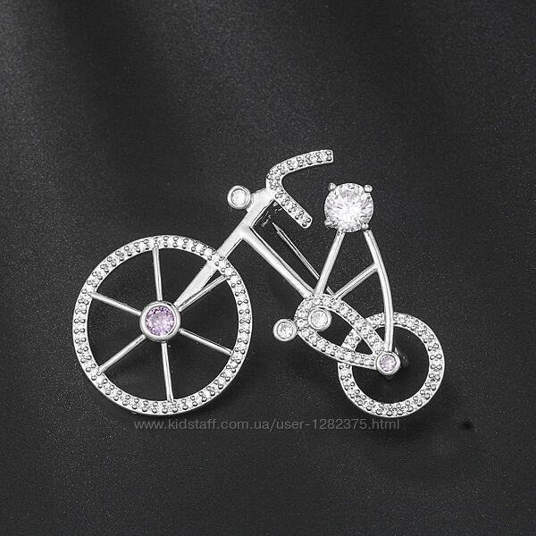Брошь велосипед с камушками
