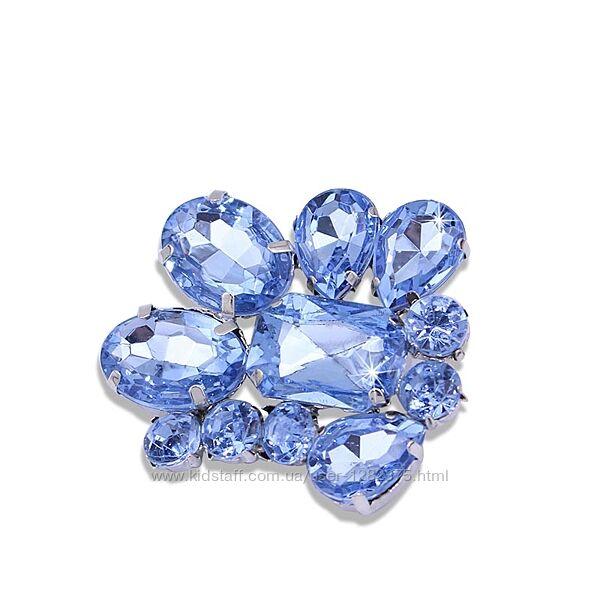 Брошь голубые кристаллы
