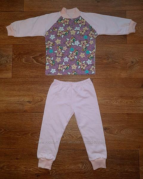 Пижама для девочки. Футер. Байка. Фламинго