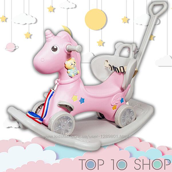 КАТАЛКА Единорог 5 в 1 для малыша от 1 года, лошадка качалка, толокар