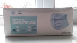 Одноразовые защитные маски упаковка 50 шт с фиксатором для носа