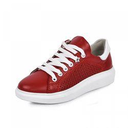 Кожаные кроссовки Марле Maxus 1101877 перфорация красная
