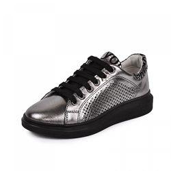 Кожаные кроссовки Марле Maxus 1101872 перфорация никель