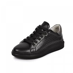 Кожаные кроссовки Марле Maxus 1101876 перфорация черные