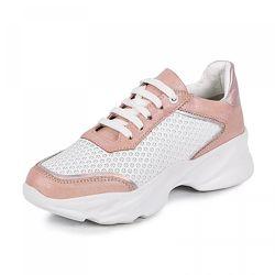 Кроссовки для девочки Maxus 1942 белая розовая кожа