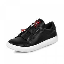 Кожаные кроссовки 1966 черная кожа белая подошва