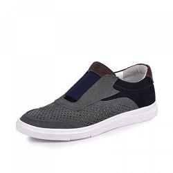 Кожаные кроссовки с перфорацией Стар Maxus 1101084 сине серый нубук