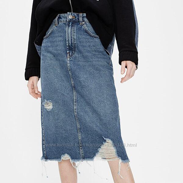 Джинсовая юбка миди Zara, размер 34-36