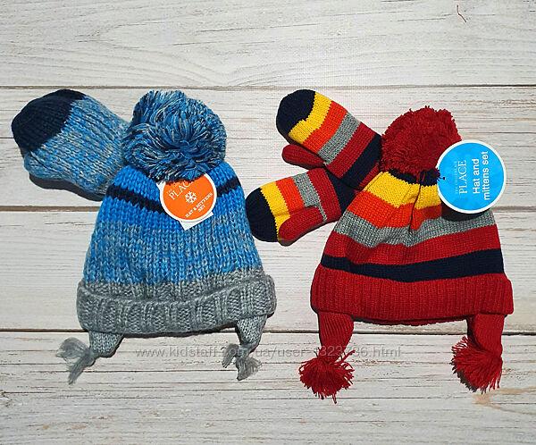 Зимняя шапка и варежки на мальчика  Childrens place 6мес-3года