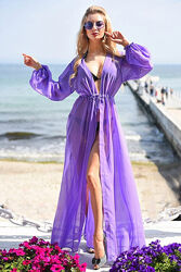 Пляжная туника в пол с длинными рукавами, разные цвета
