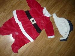 Костюм Бодик Человечек Санта на 0-3 мес Шапка Chicco Чико в подарок