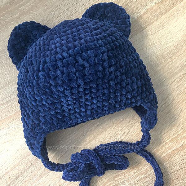 Шапка с ушками вязаная ручная работа синяя велюр новая теплая handmade