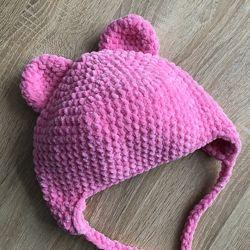 Шапка с ушками вязаная ручная работа розовая велюр новая теплая handmade