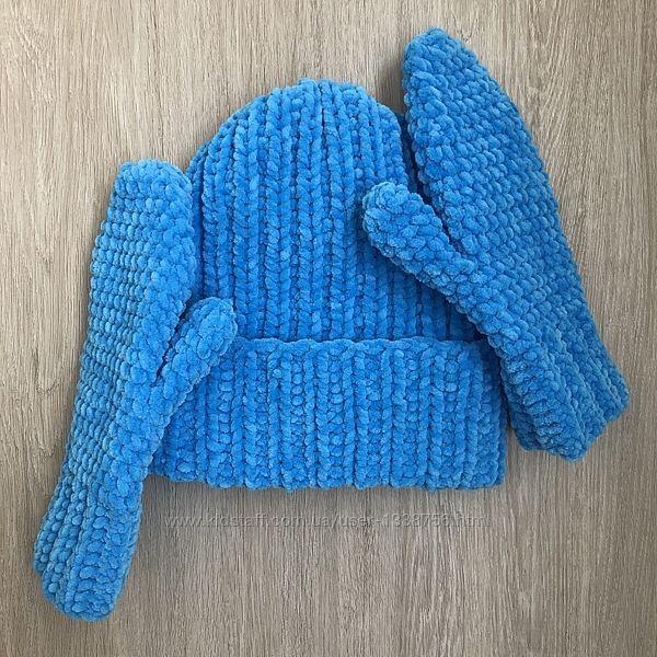 Мягкие и тёплые велюровые шапка и варежки рукавицы для осени и зимы выпол