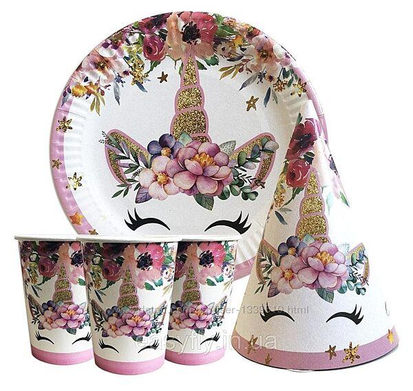 Набор для детского дня рождения  Единорог цветы