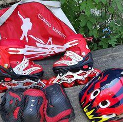 Крутой набор МАРАТОН ролики, шлем, защита, допболт Scooter